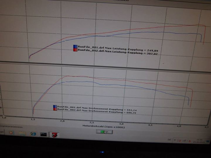 Leistungsdiagram Audi 3.0TDI 300ps Software Chiptuning